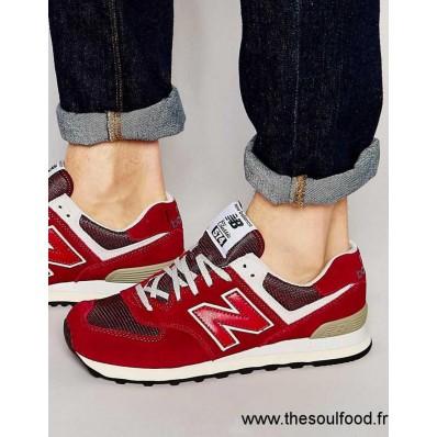 new balance 574 rouge daim et tulle