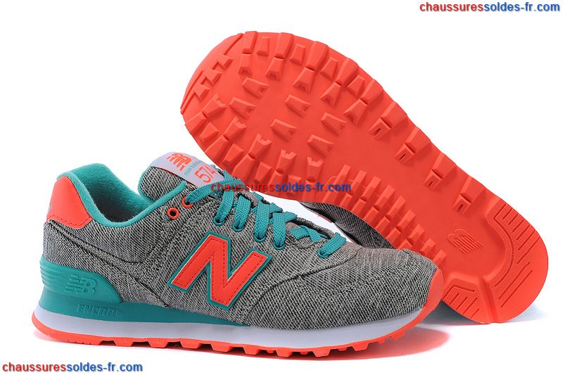 new balance wl574 gris turquoise orange